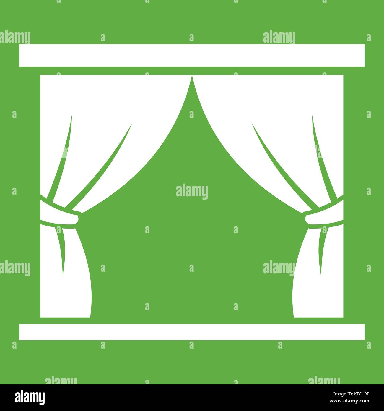 Curtain on stage icon green - Stock Vector