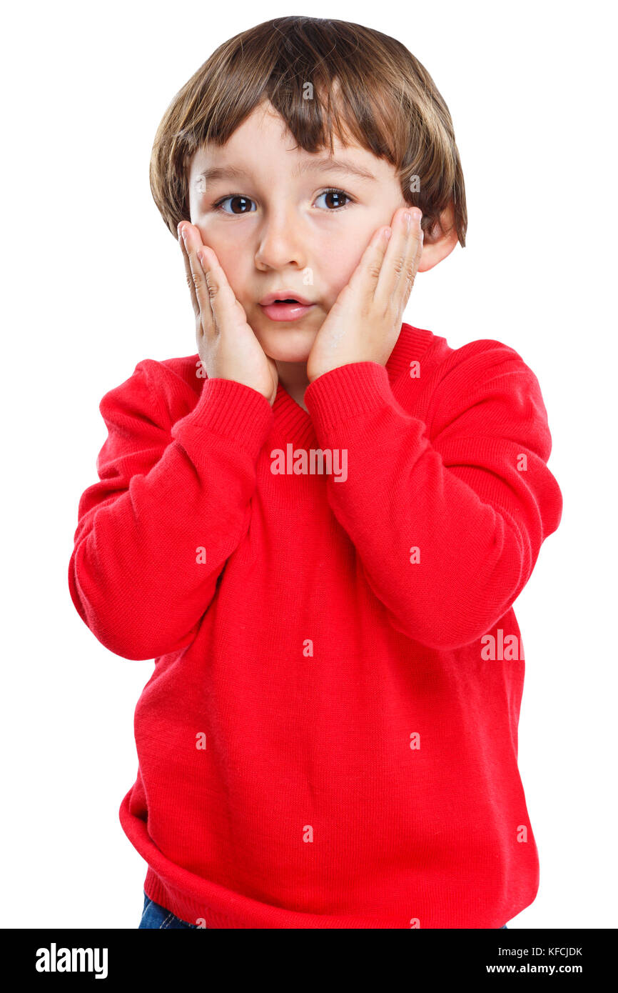 Child kid boy fear sorrow anxious afraid worried emotion portrait format isolated on a white background - Stock Image