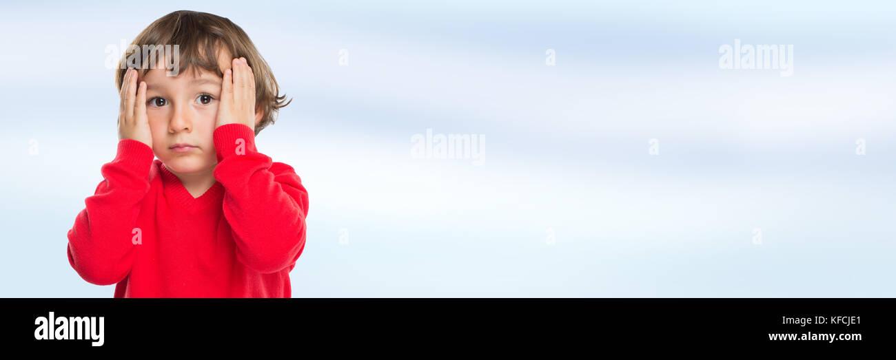 Child kid boy sad sadness sorrow worried emotion banner copyspace copy space - Stock Image
