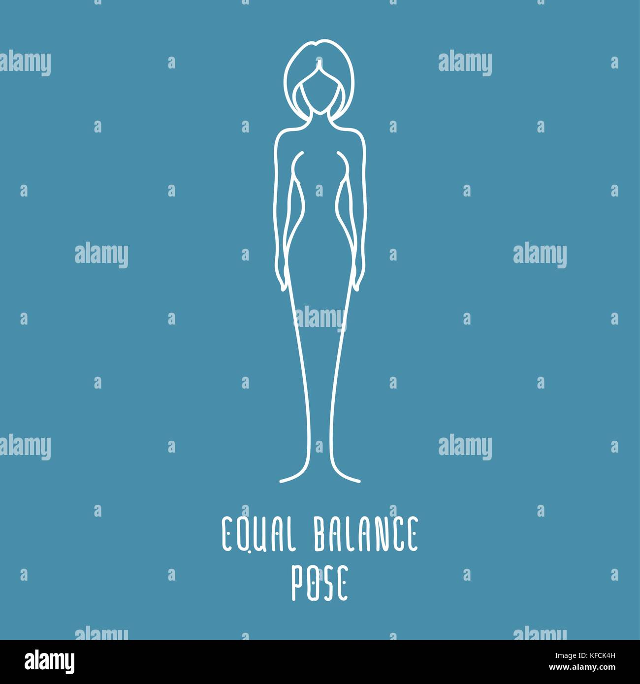 Yoga pose flat line icon, simple sign of woman in equal balance