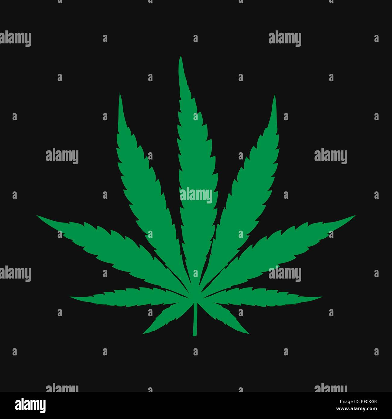 Vector cannabis leaf illustration - green plant isolated on black, medical marijuana drawing silhouette. Stock Vector