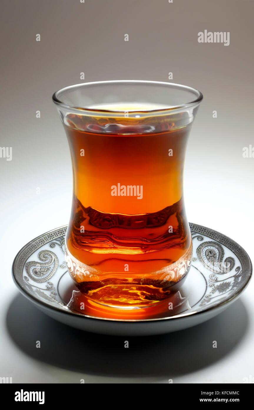 Tea in Azerbaijani traditional armudu glass - Stock Image