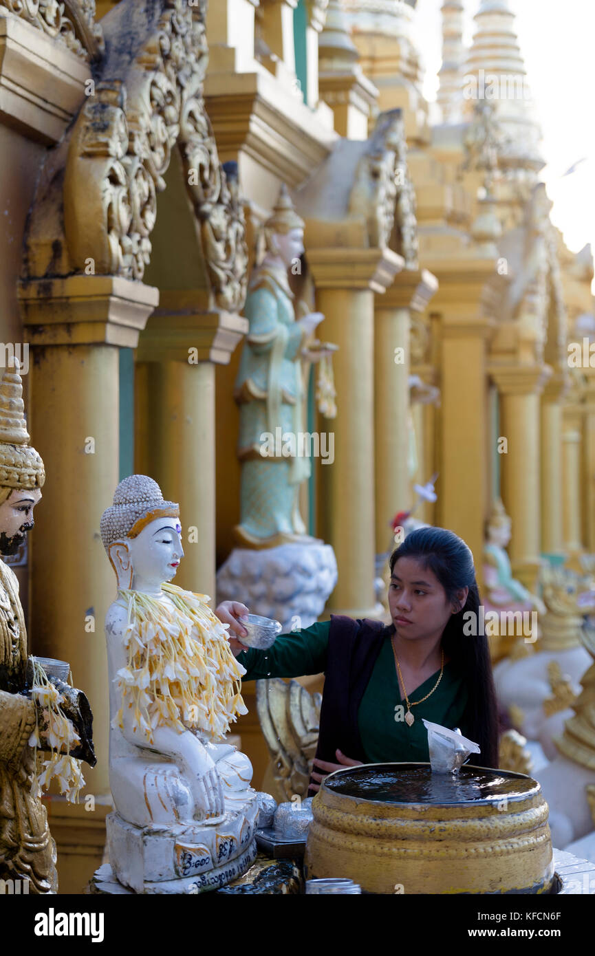 Myanmar (formerly Burma). Yangon. (Rangoon). The Shwedagon Pagoda Buddhist holy place is the first religious center - Stock Image