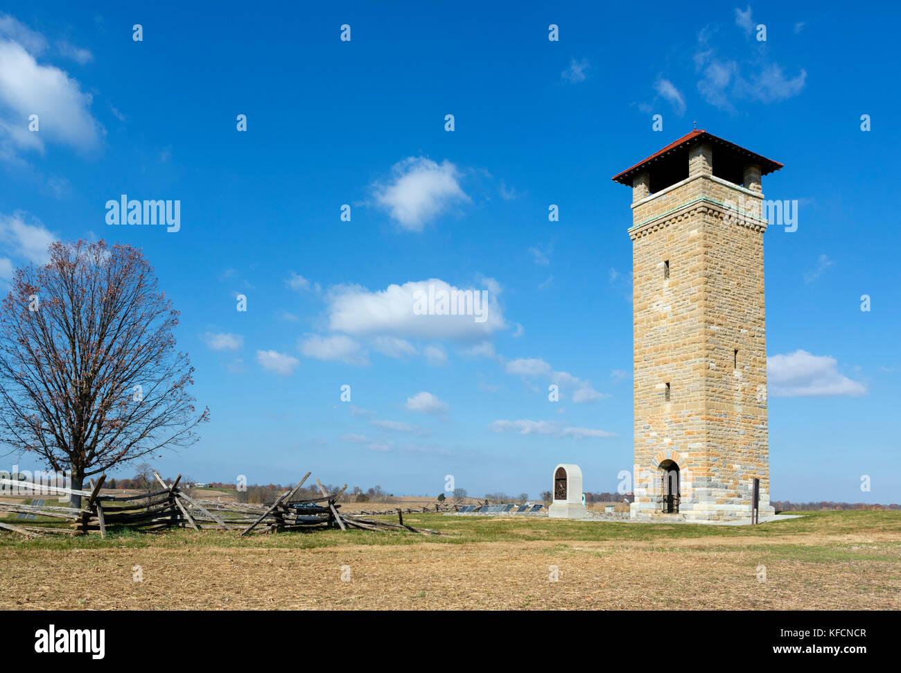 The War Department Observation Tower on Bloody Lane (Sunken Road), Antietam National Battlefield, Sharpsburg, Maryland, - Stock Image