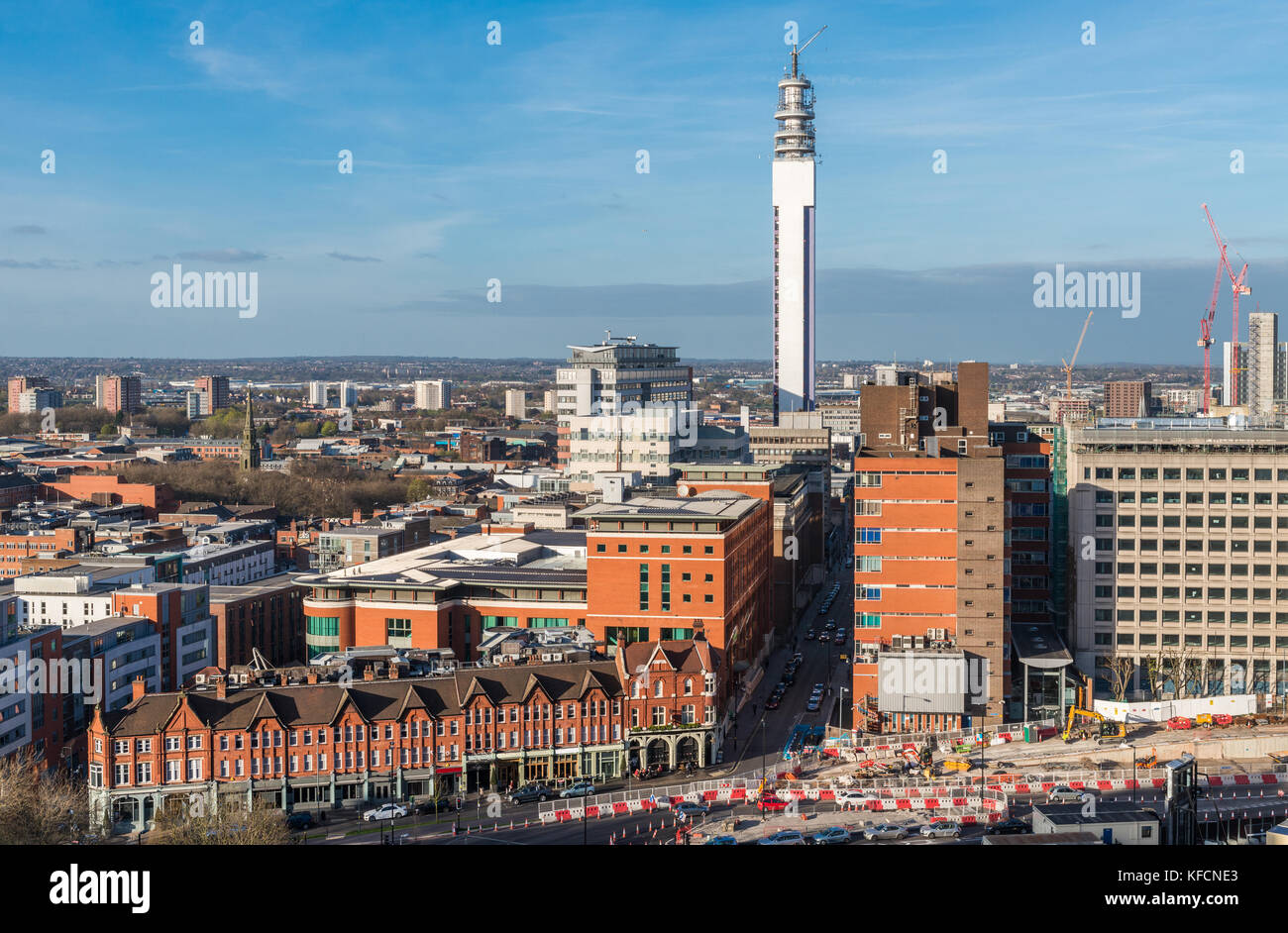 Birmingham, West Midlands, UK skyline. The city is the second biggest in England after London - Stock Image