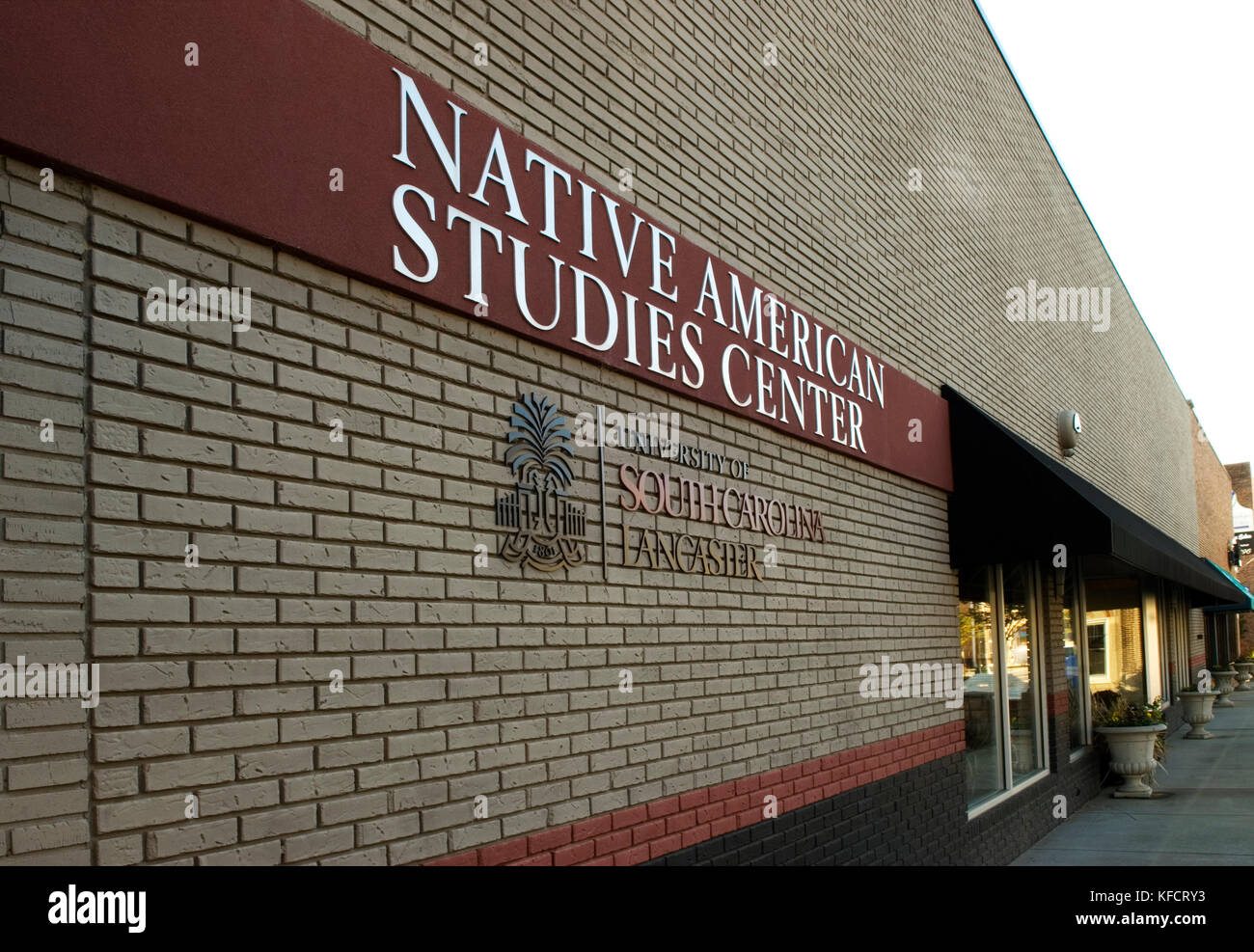 Building exterior and sign at Native American Studies Center Lancaster SC, USA. - Stock Image