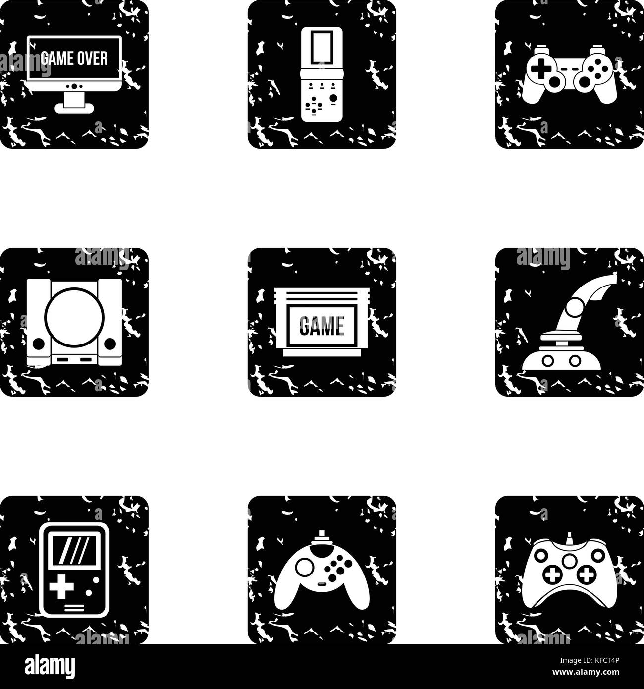 Fantasy games icons set, grunge style - Stock Image