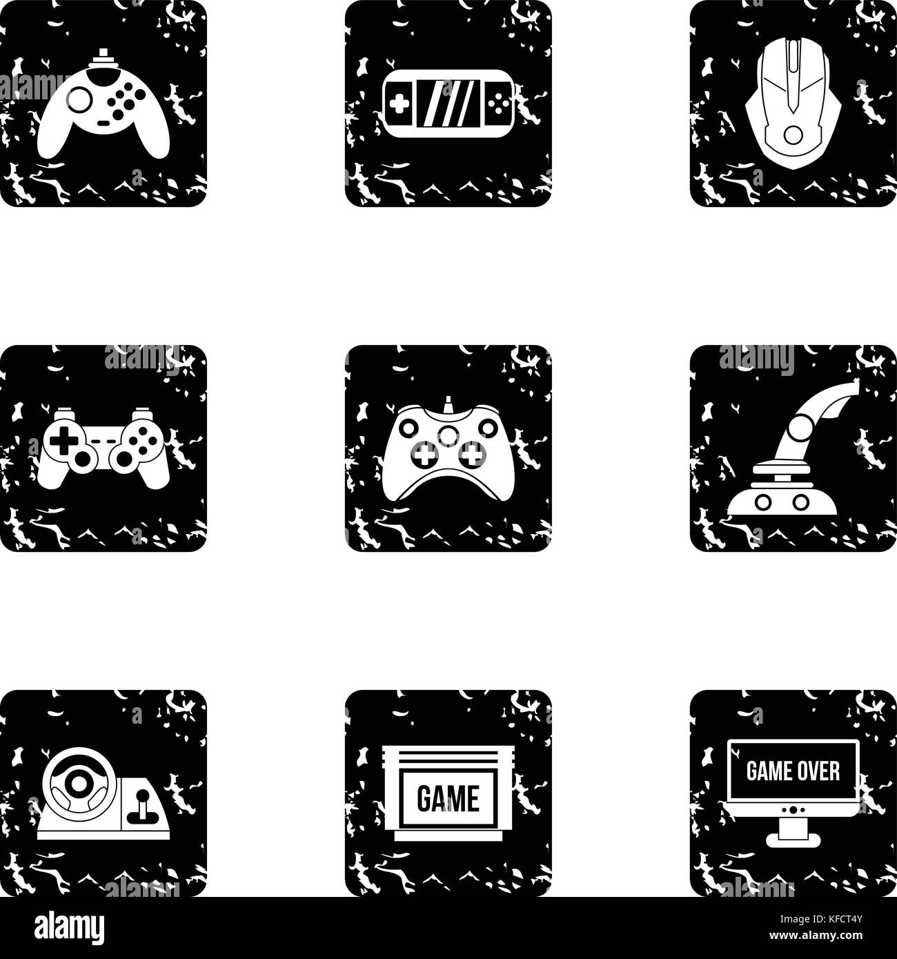 Computer games icons set, grunge style - Stock Image