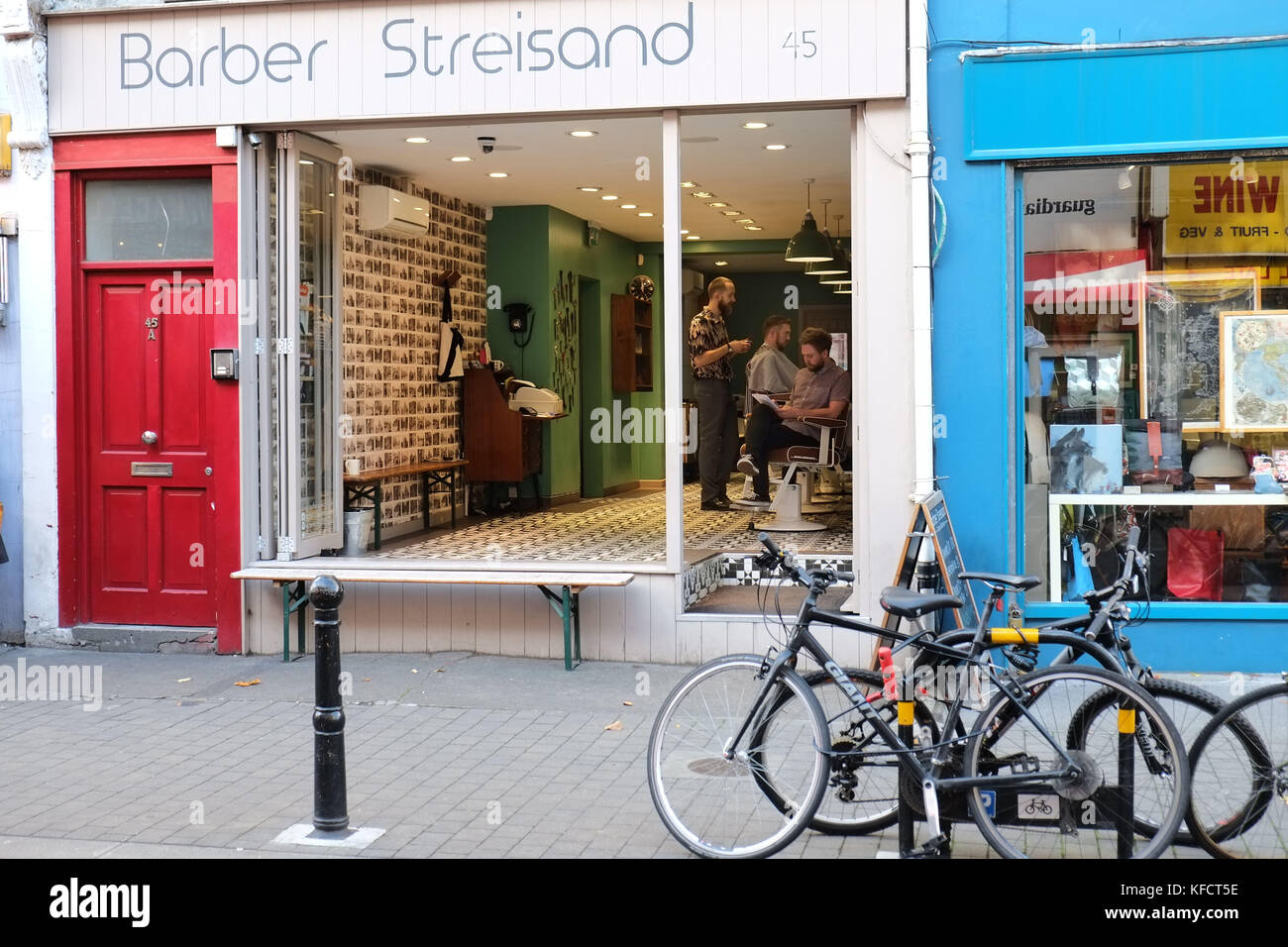 Witty named barbers at 45 Exmouth Market London UK Baber Streisand. - Stock Image