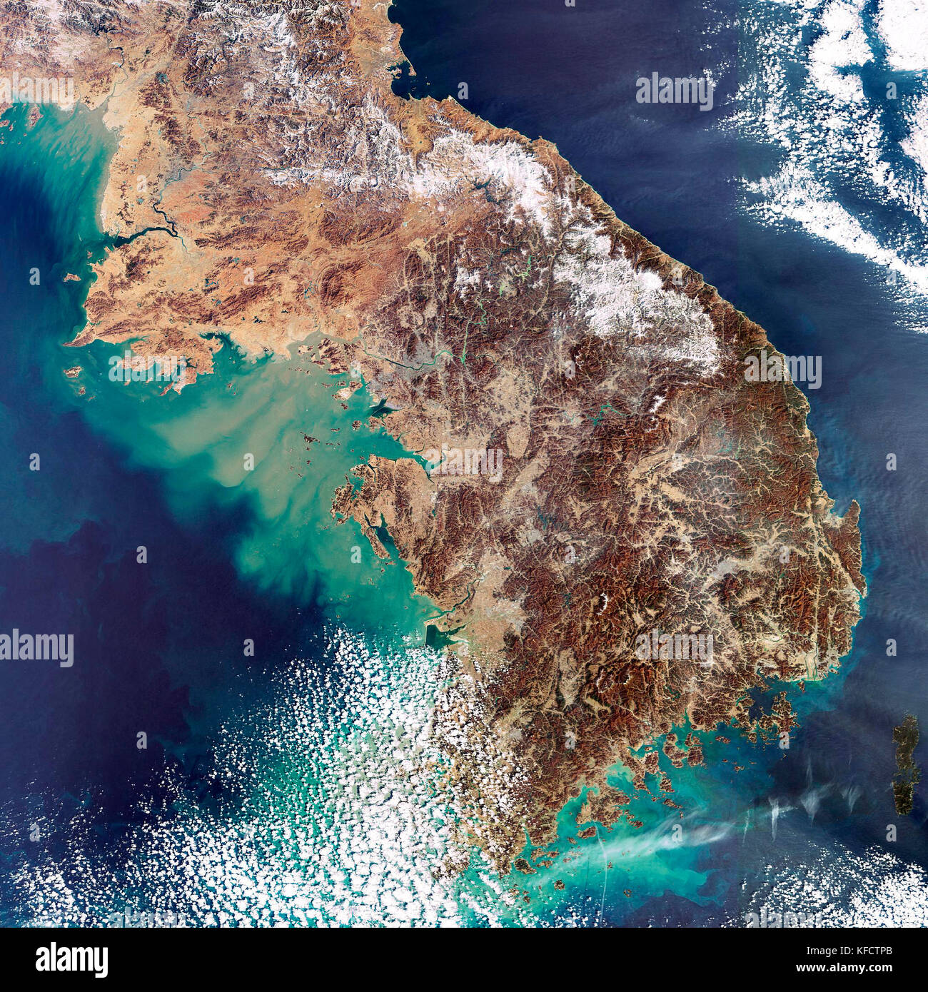 The Korean Peninsula, highlighted in this image acquired on 11 February 2007. - Stock Image