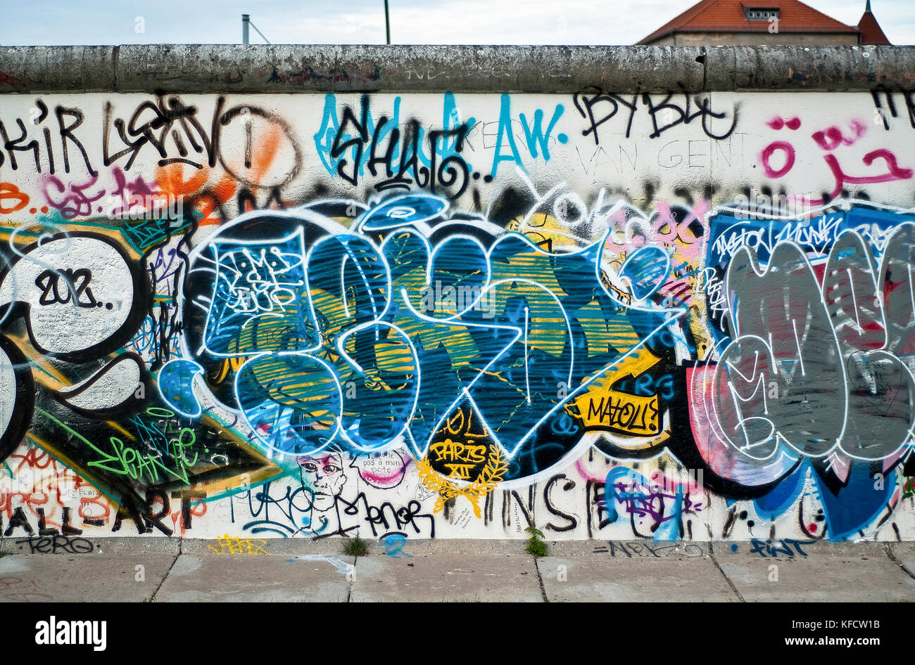 BERLIN-SEPTEMBER 26:The Berlin wall at the East side Gallery,Berlin,Germany,on September 26,2012. - Stock Image