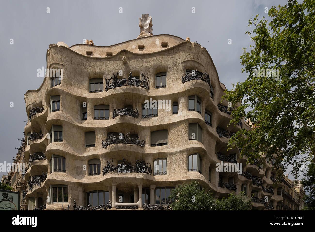 Casa Mila in Barcelona, Spain - Stock Image