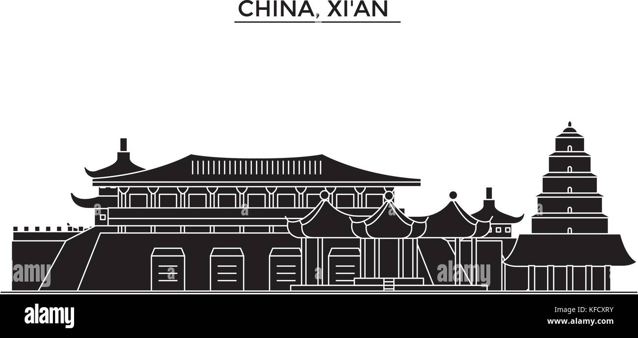 China, Xian  architecture urban skyline with landmarks, cityscape, buildings, houses, ,vector city landscape, editable - Stock Vector
