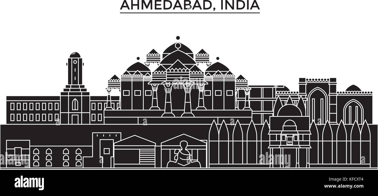 India, Ahmedabad architecture urban skyline with landmarks, cityscape, buildings, houses, ,vector city landscape, - Stock Vector