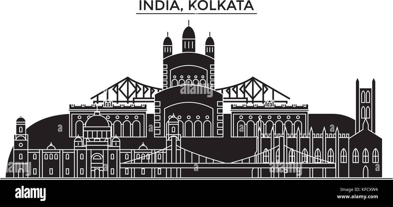 India, Kolkata architecture urban skyline with landmarks, cityscape, buildings, houses, ,vector city landscape, - Stock Vector