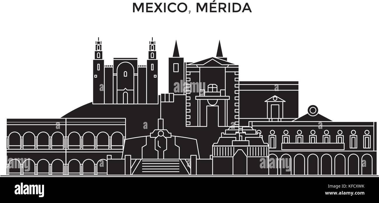 Mexico, Merida architecture urban skyline with landmarks, cityscape, buildings, houses, ,vector city landscape, Stock Vector