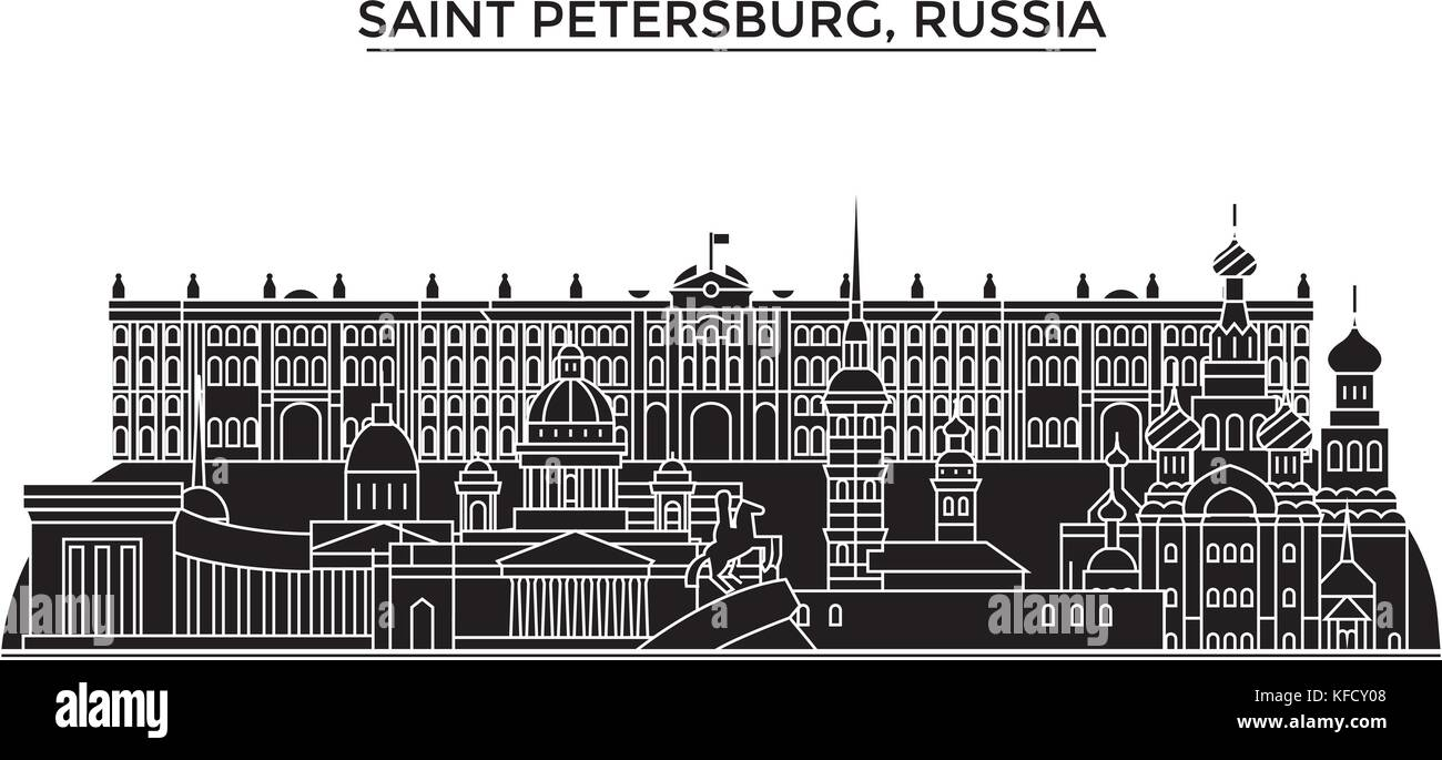 Russia, Saint Petersburg architecture urban skyline with landmarks, cityscape, buildings, houses, ,vector city landscape, - Stock Vector
