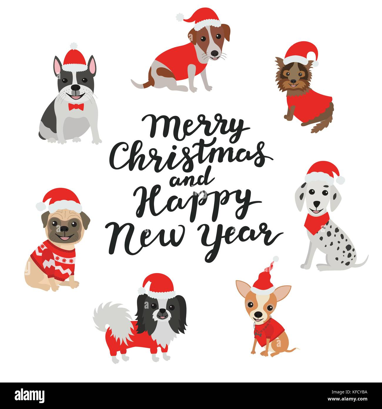 merry christmas and happy new year happy dogs in costumes santa claus stock vector