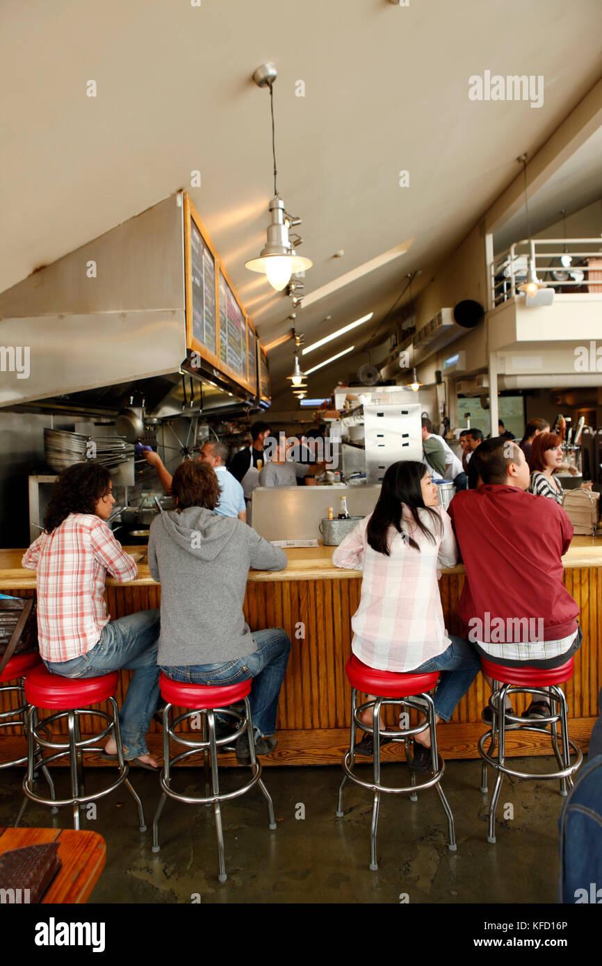 Usa California Sausalito Guests Sit On Bar Stools And Eat