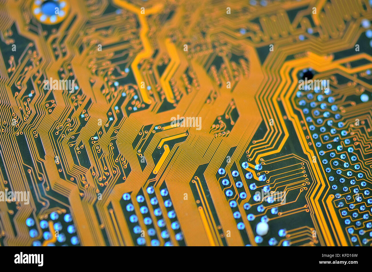 Computer hardware. Closeup electronic circuit board background. Selective Focus. - Stock Image