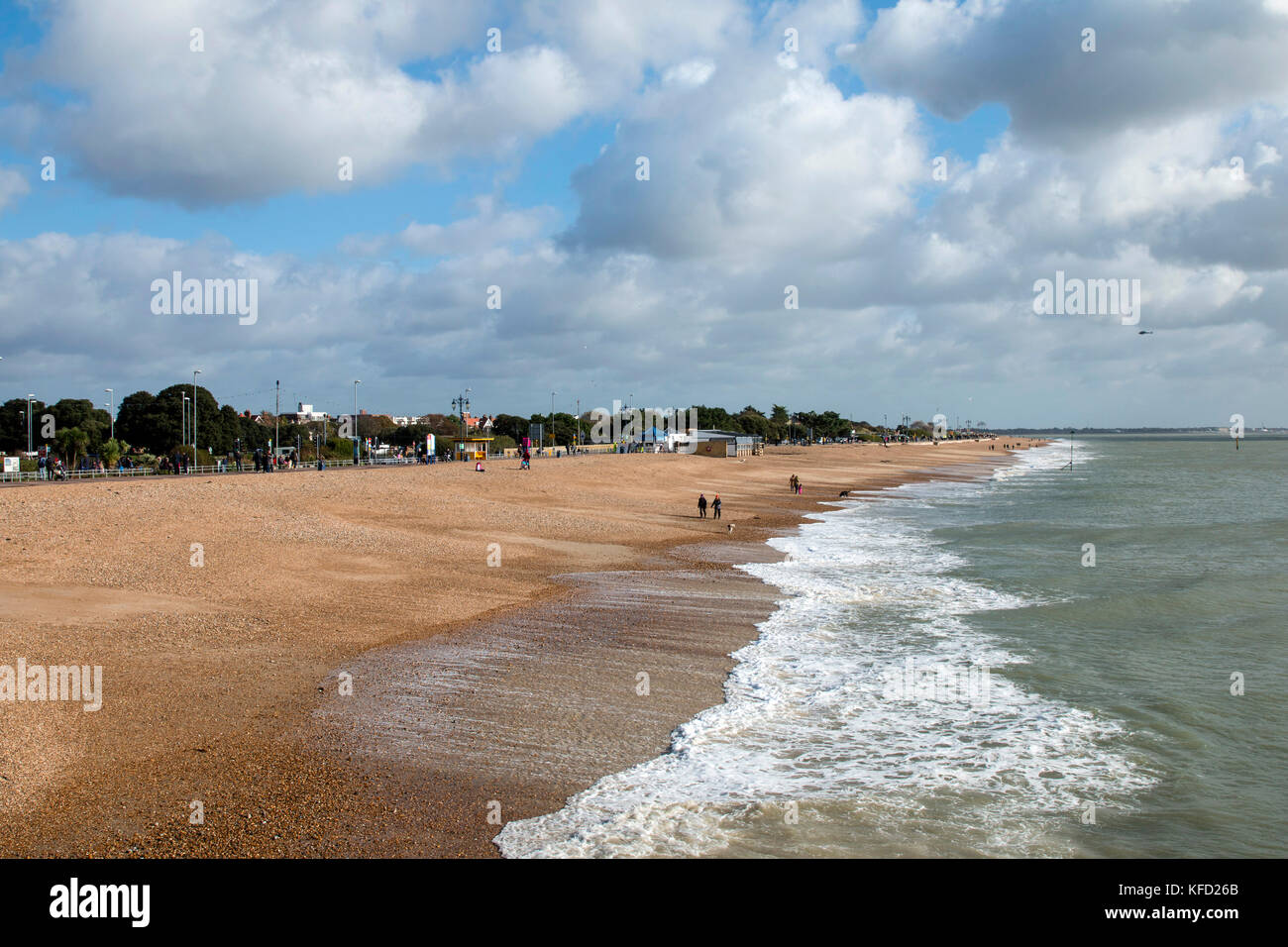 Southsea beach, Portsmouth, Hampshire on October 22 2017. Taken from South Parade Pier Stock Photo
