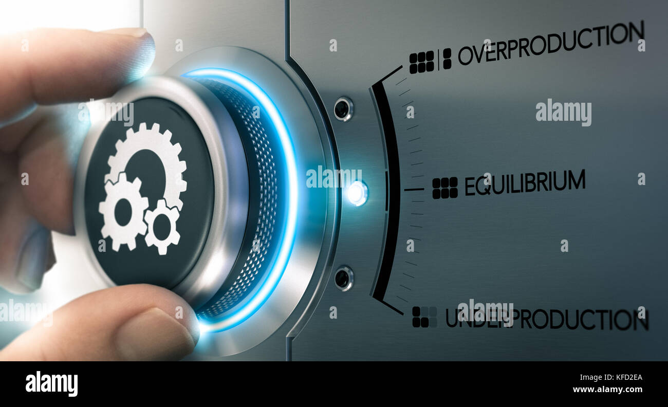Hand turning a knob over metalic background with the words overproduction, equilibrium and underproduction. Concept - Stock Image