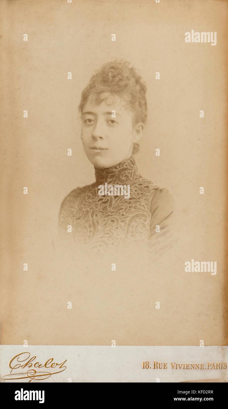 Noble french woman of d'Oncie de la Badie family, taken in 1896 (Paris) - Stock Image