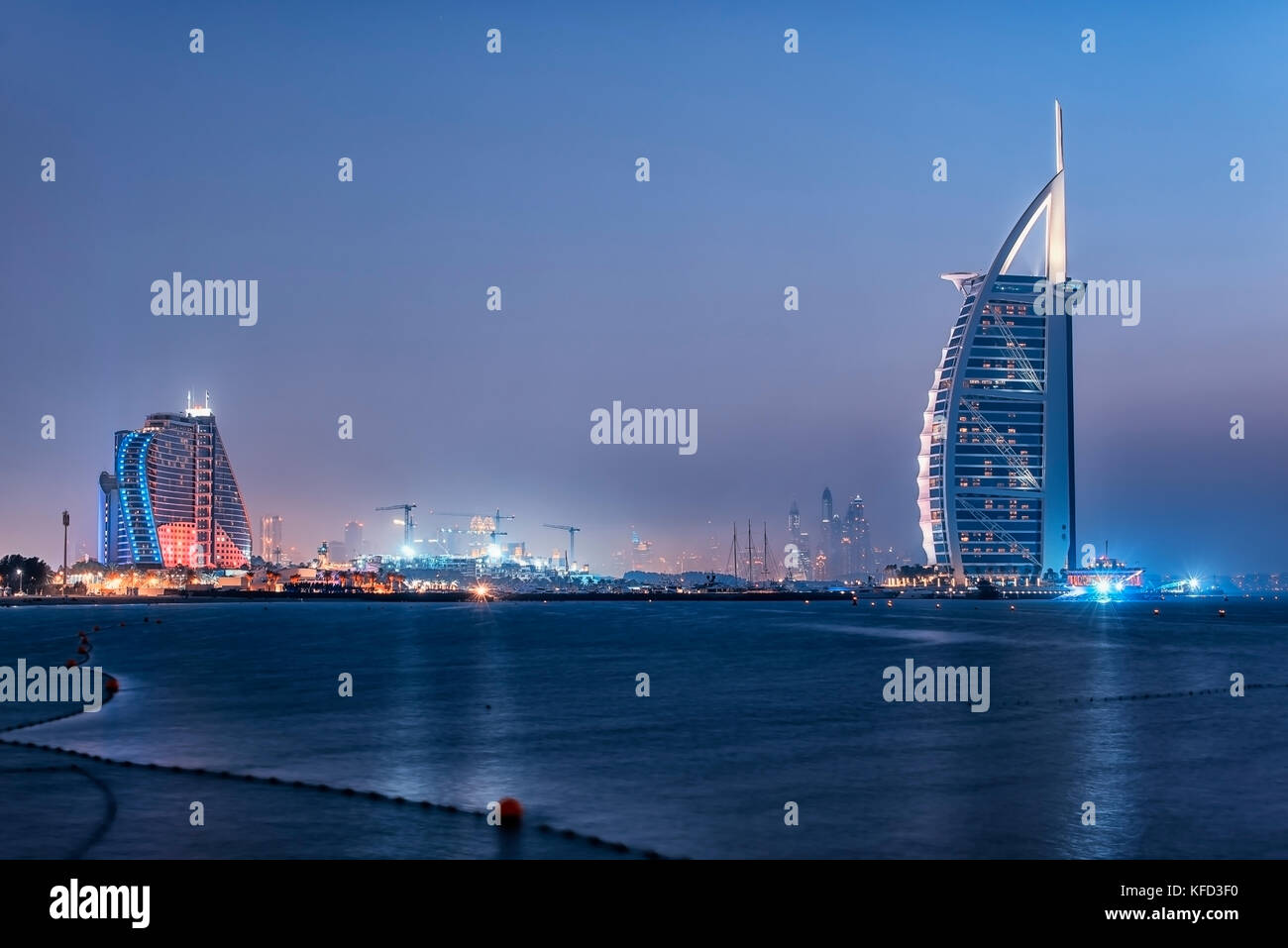 Dubai city viewed from the Palm Jumeirah - Stock Image