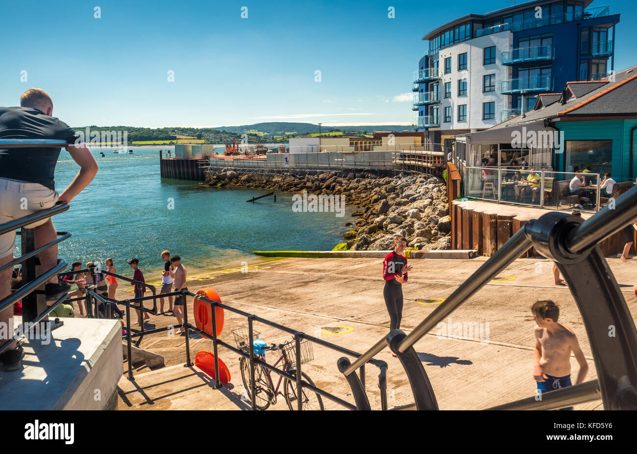 Mamhead slipway, Exmouth, Devon, pier, sea, cafe, Lyme bay, children bathing, bycycle, holidays, leisure, building - Stock Image