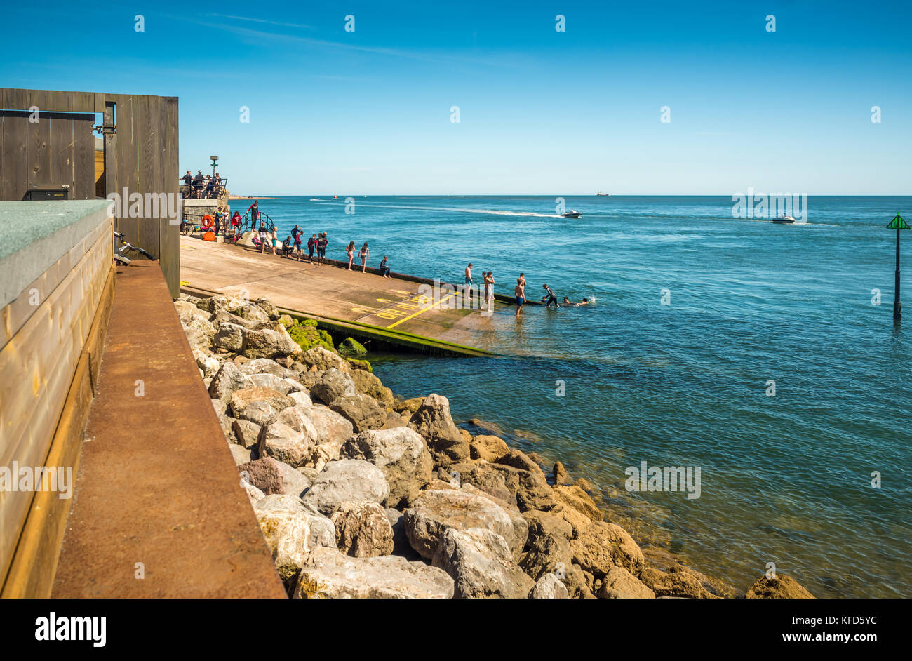 The new Mamhead Slipway used as a bathing pool. - Stock Image