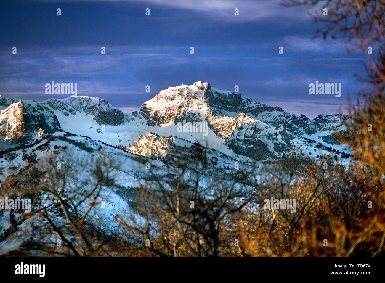 USA, Nevada, an early morning view of the Ruby Mountains in the Great Basin, Elko County, Lamoille Canyon - Stock Image