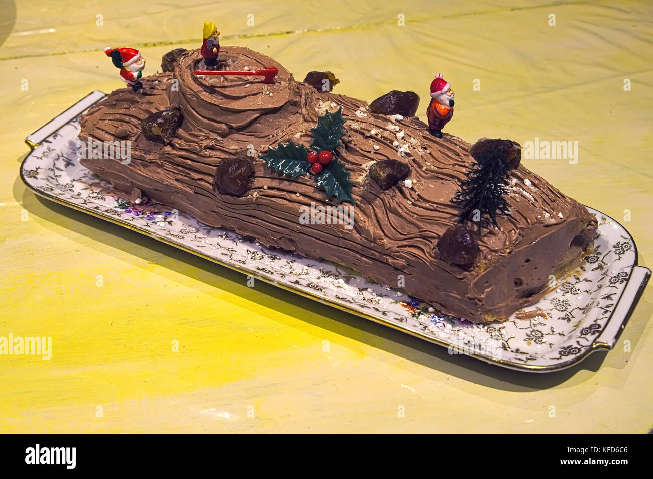 French traditional Yule log for Christmas cake - Stock Image