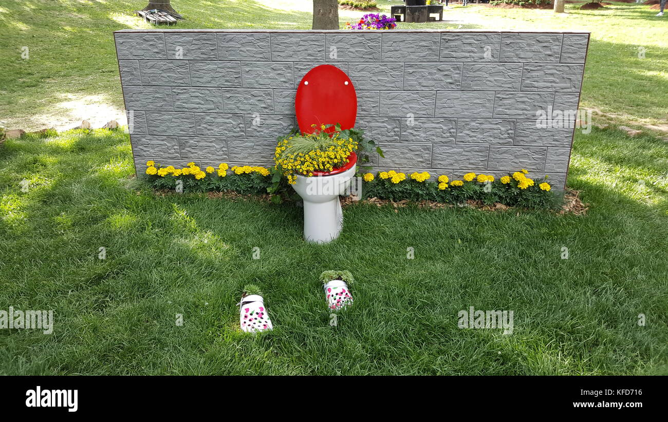 Toilet with red lid completely filled with flowers in front of stone wall and on green grass artistic installation - Stock Image