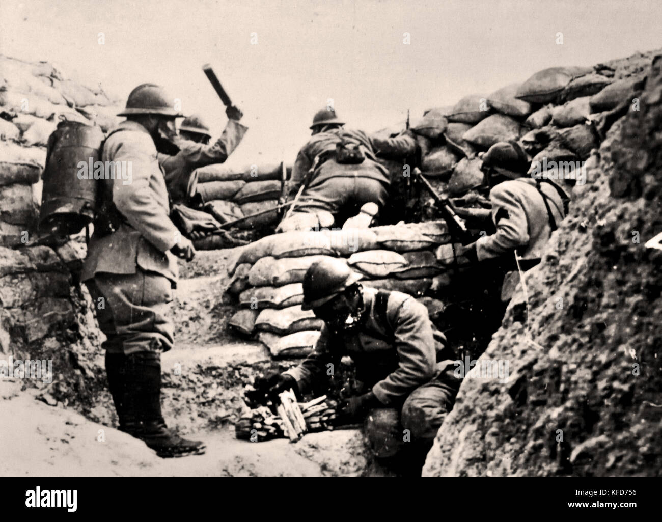 French Soldiers in the trenches France 1916  World War I - First World War, The Great War, 28 July 1914 to 11 November - Stock Image