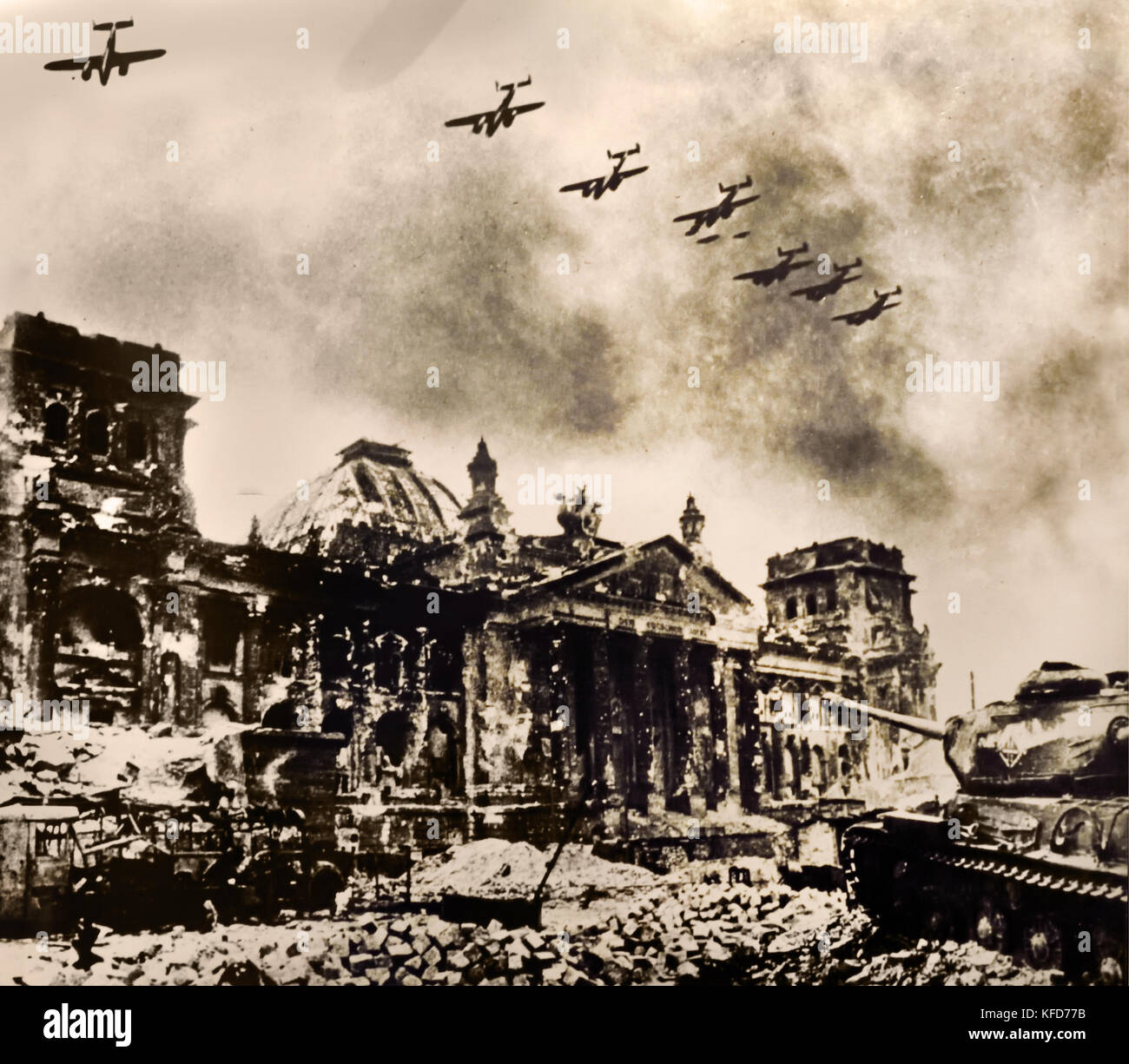 Reichstag building captured by the Red Army and severely damage in the Second World War. Berlin, Germany. April - Stock Image