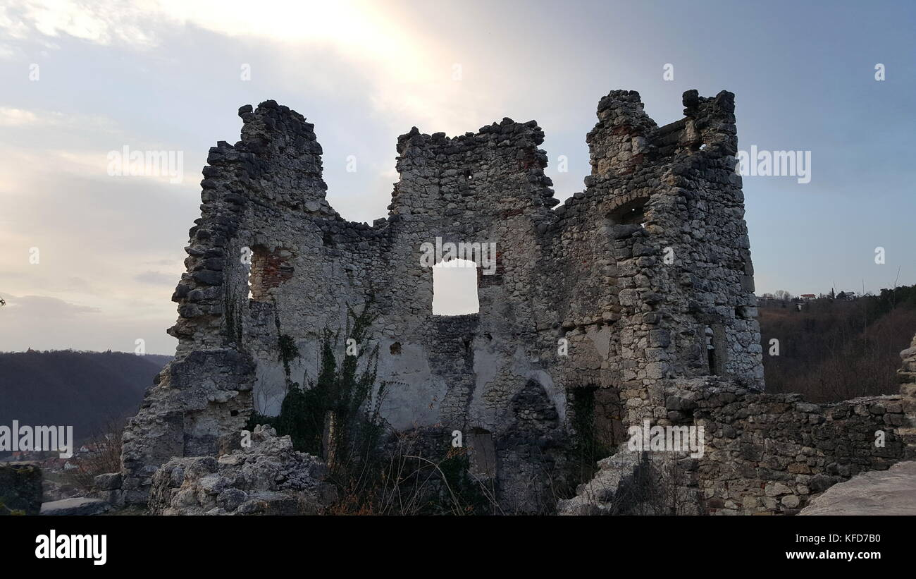 Old castle stone tower ruins of old city Samobor, Croatia surrounded with dense forest and plant overgrowth - Stock Image