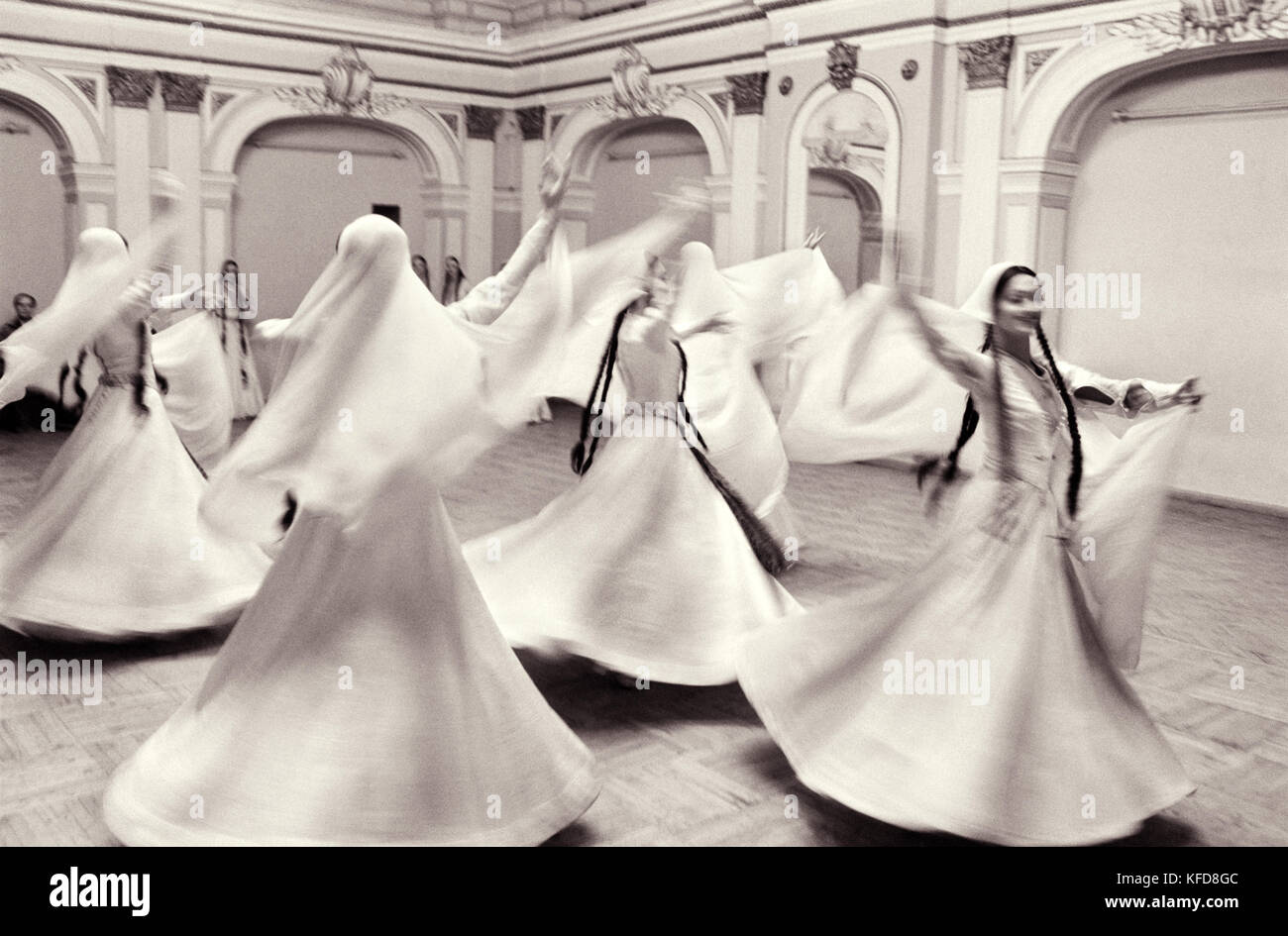REPUBLIC OF GEORGIA, Whirling Dervishes performing, Tbilisi (B&W) - Stock Image