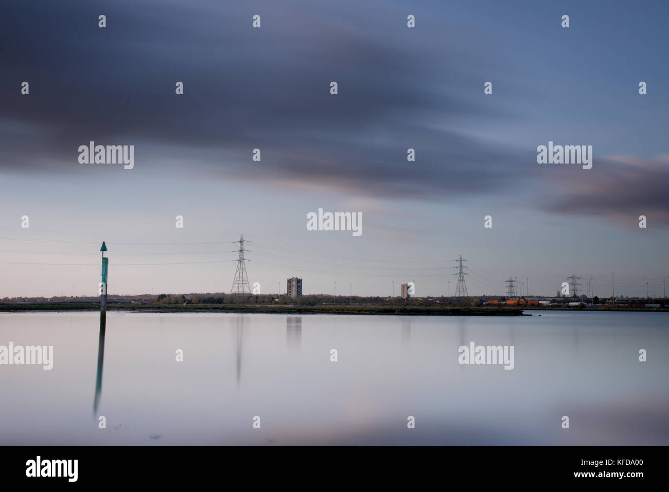 Electric Pylons in the landscape with motion blur - Stock Image