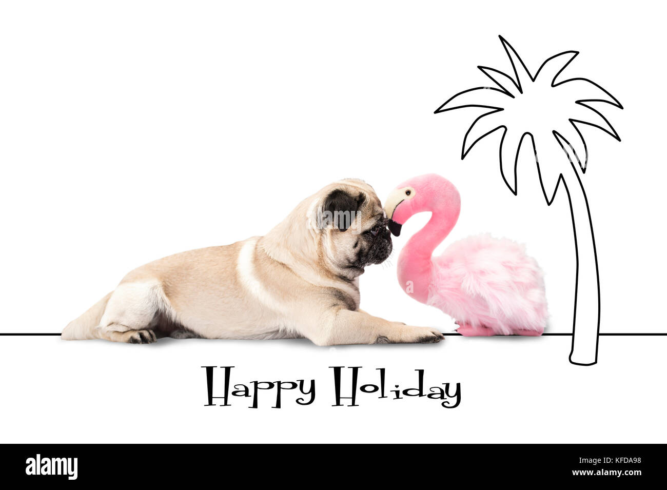 Happy Holliday - Pug dog and flamingo lie under a palm - Stock Image