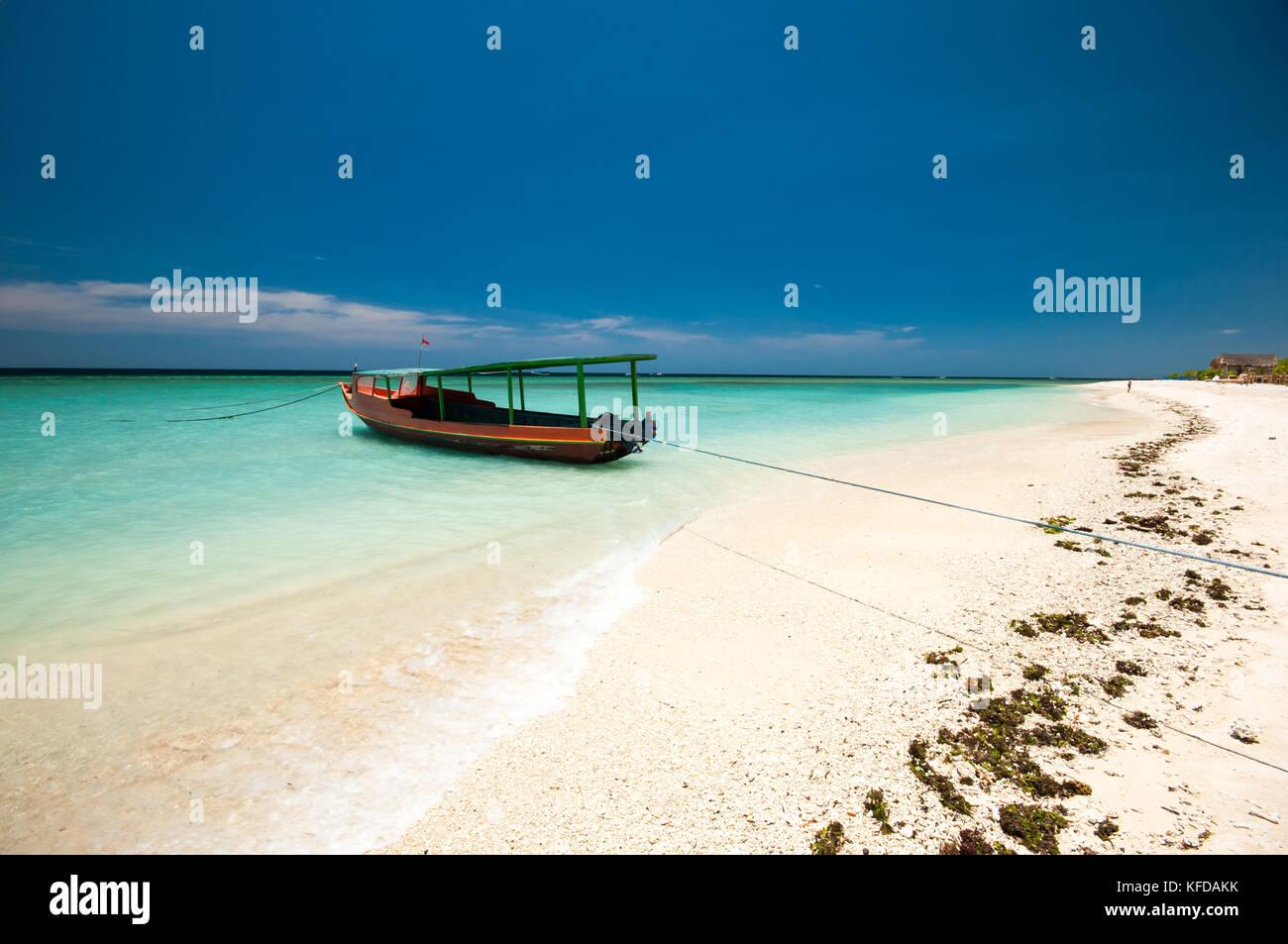 Boat on the sea, Gili Meno Island, Lombok, Indonesia - Stock Image