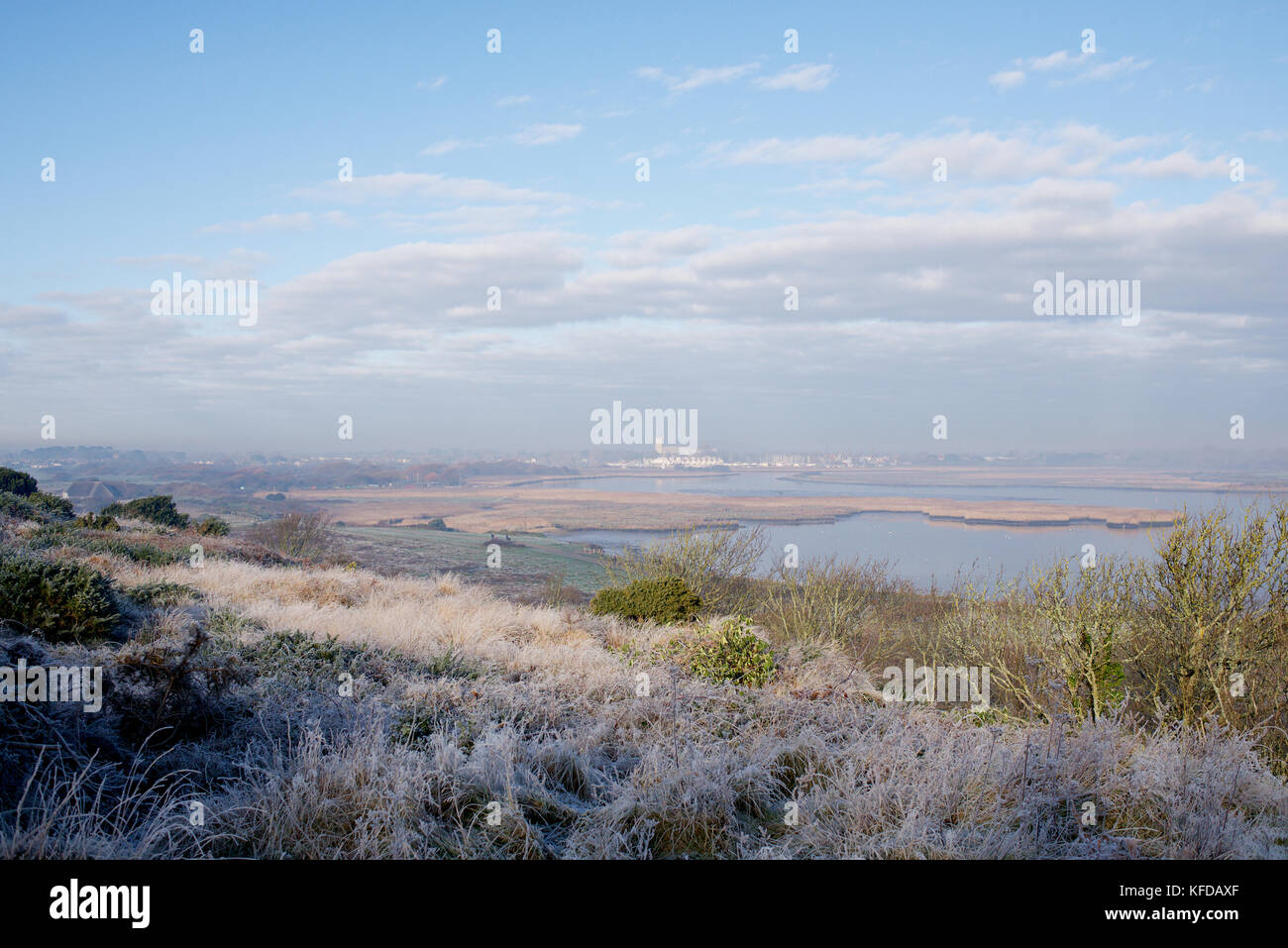 Hengitsbury Head in the winter - with frost on the ground - Stock Image