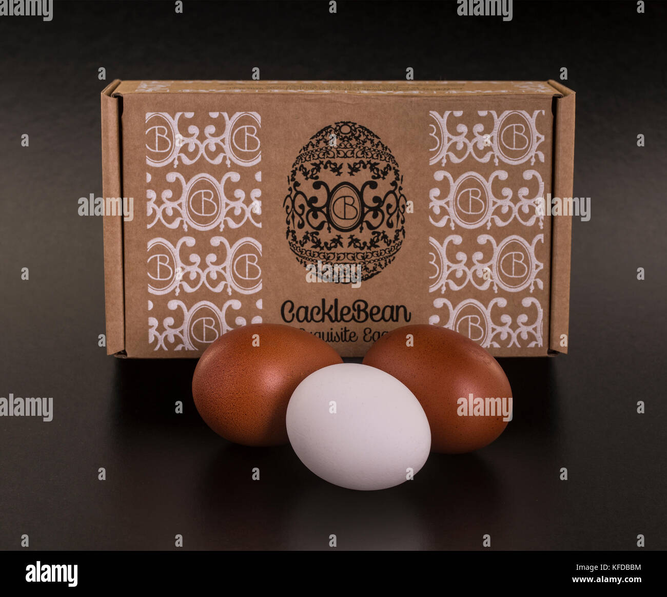 SWINDON, UK - OCTOBER 26, 2017: CackleBean exquisite golden eggs laid by the hens at  Cackleberry Farm in the Cotswolds - Stock Image