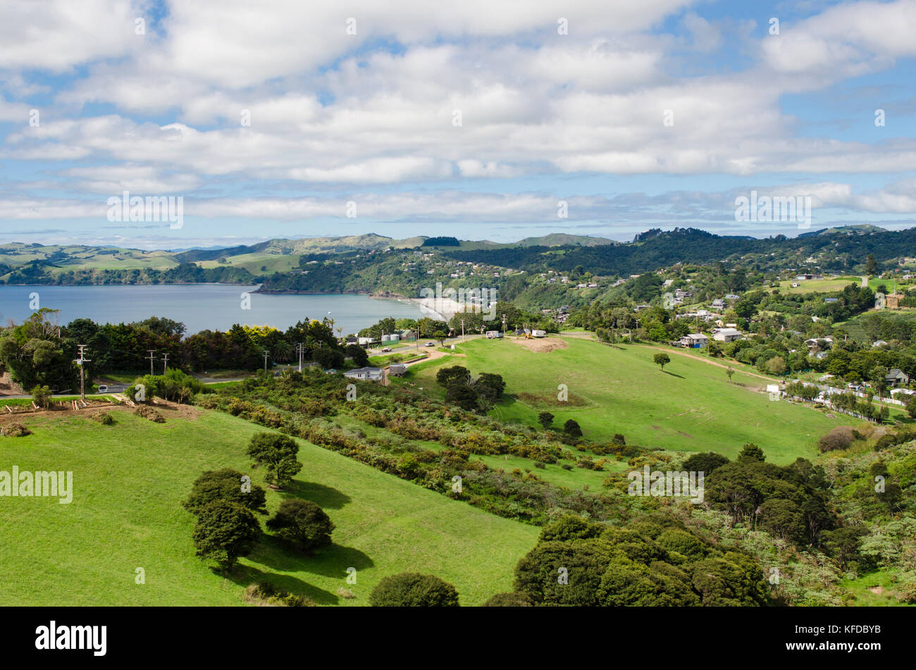 Sea view of Onetangi Valley, in Waiheke Island, Hauraki Gulf, New Zealand - Stock Image