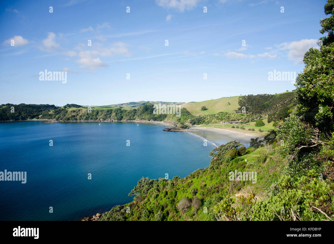 Pie melon beach bay in Waiheke Island, Hauraki Gulf, New Zealand - Stock Image