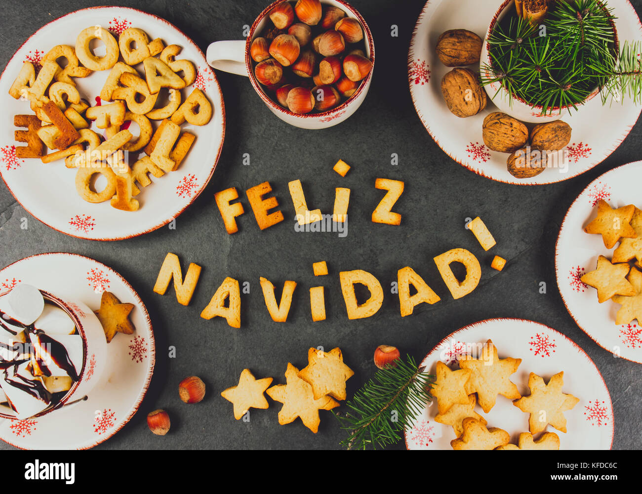 Feliz Navidad Cookies Words Merry Christmas En Spanish With Baked