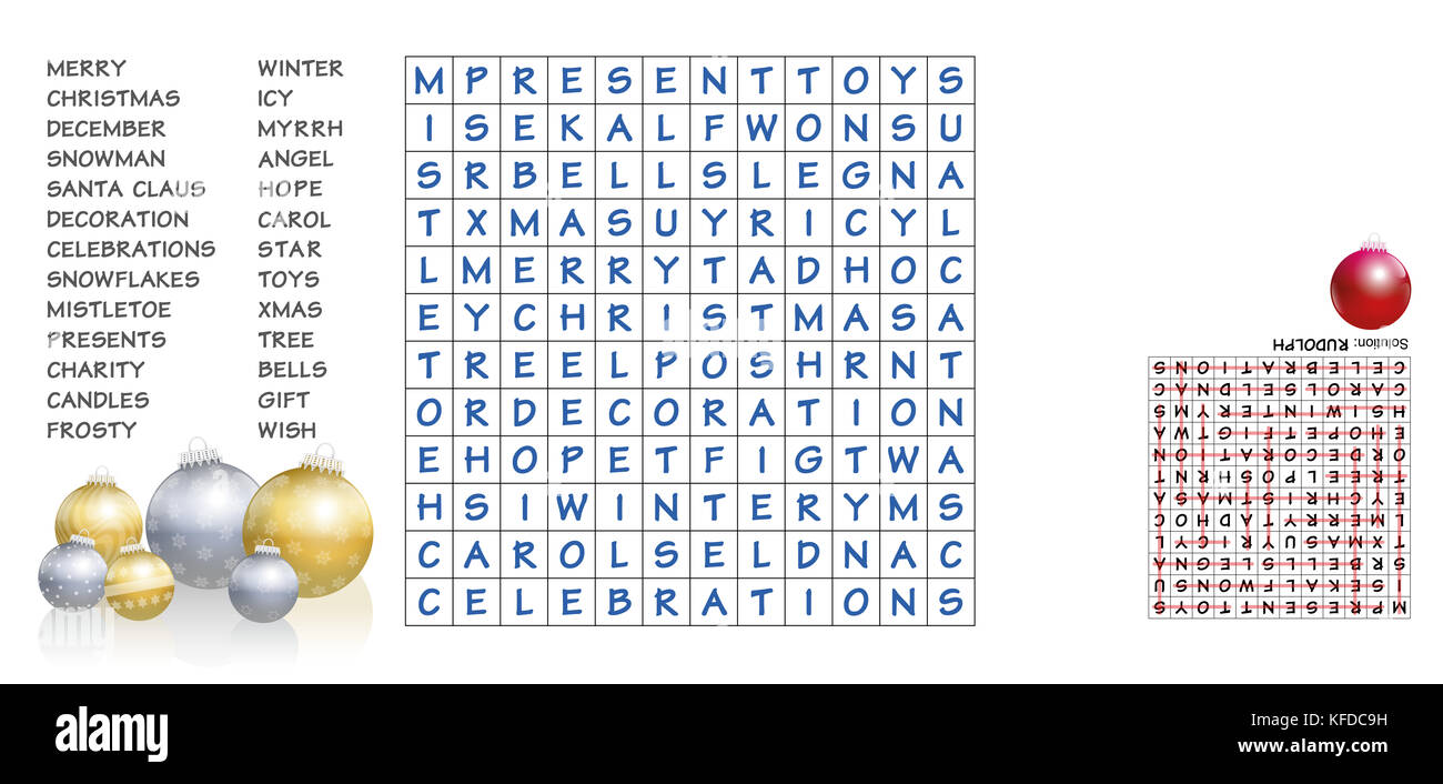 Christmas Crossword Puzzle.Christmas Crossword Find The Listed Words In The Puzzle