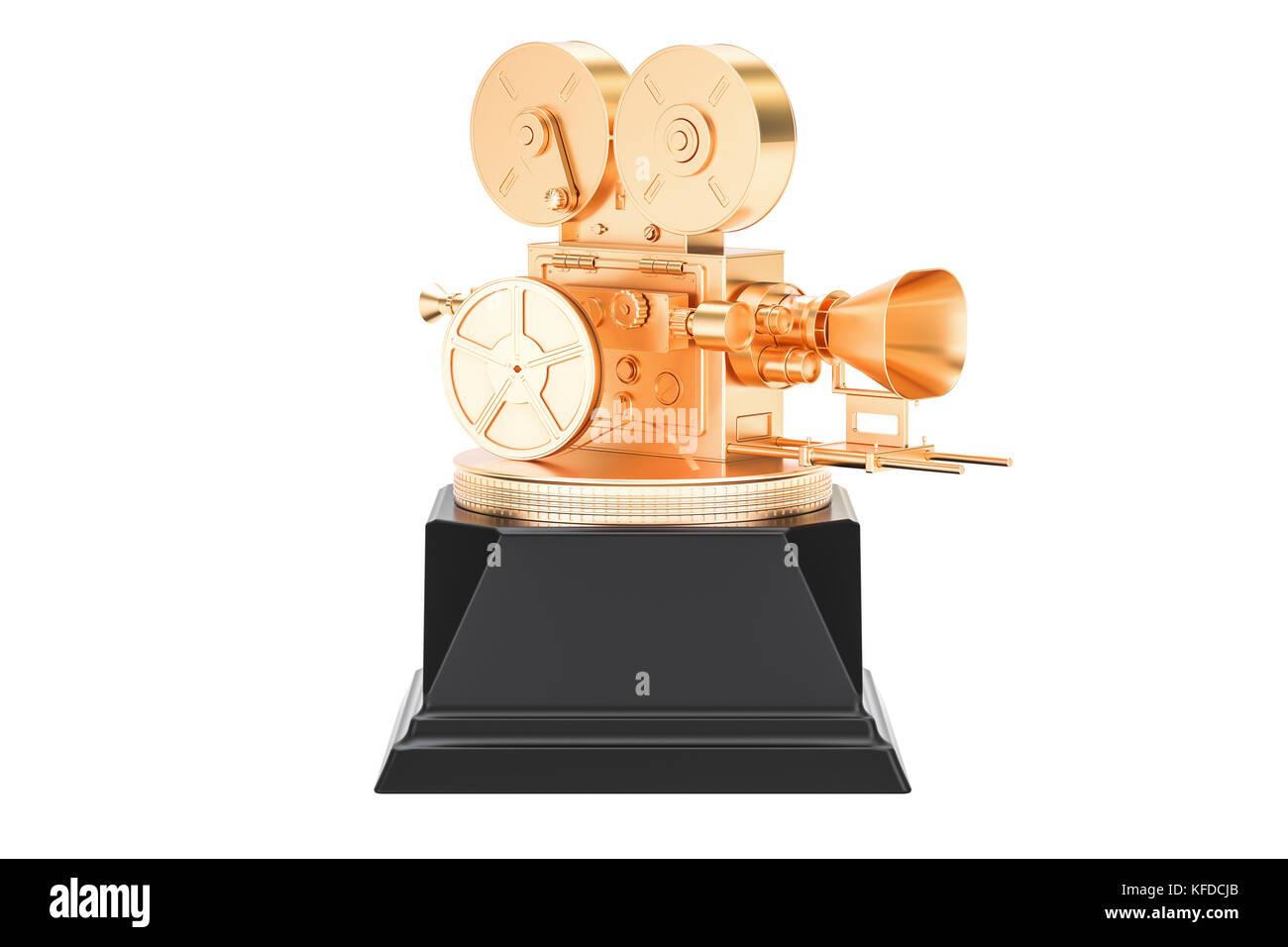 Golden cinema, film award concept. 3D rendering isolated on white background - Stock Image