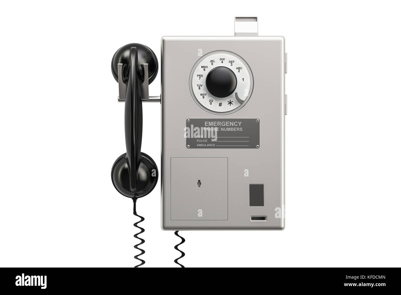 Payphone, 3D rendering isolated on white background - Stock Image