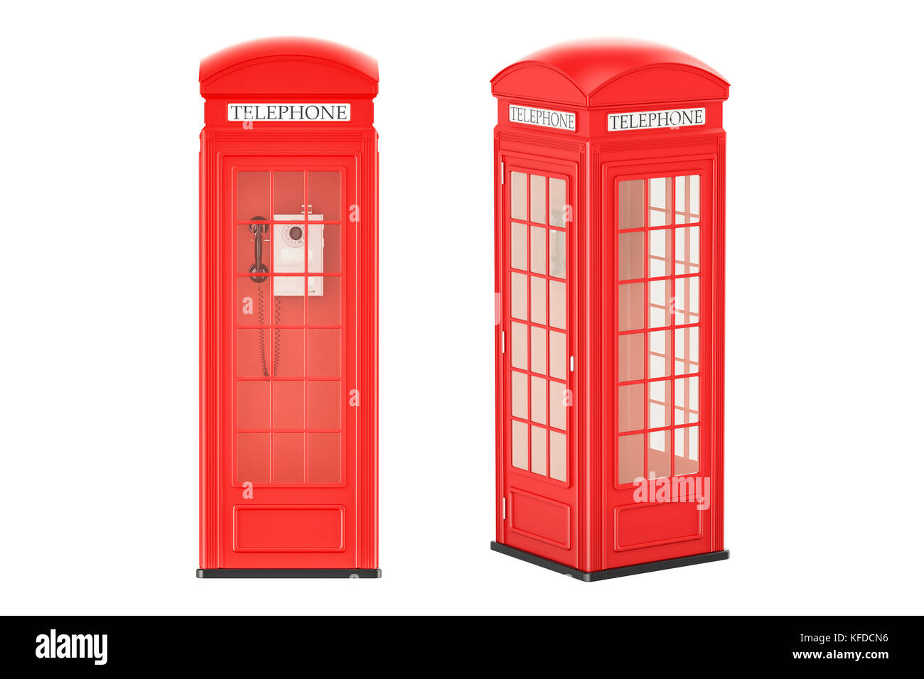 Red telephone boxes, front and side view, 3D rendering isolated on white background - Stock Image