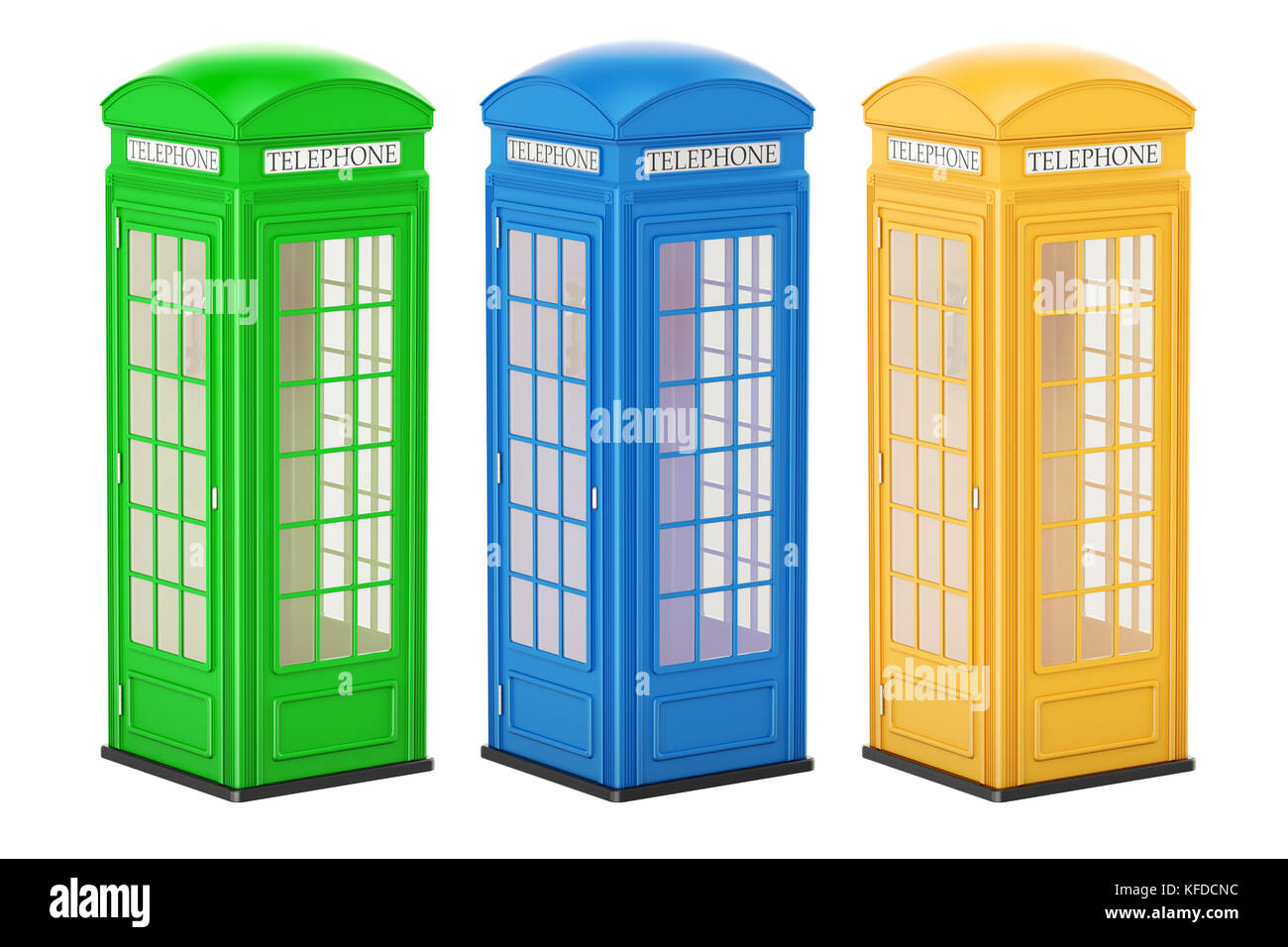 Set of colored telephone boxes, 3D rendering isolated on white background - Stock Image